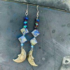 Crescent Pewter Moon & Sodalite Diamond Earrings